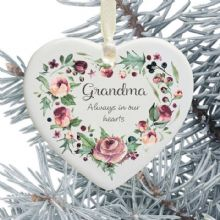 In Loving Memory Personalised Remembrance Heart Christmas Tree Decoration - Purple Floral Heart